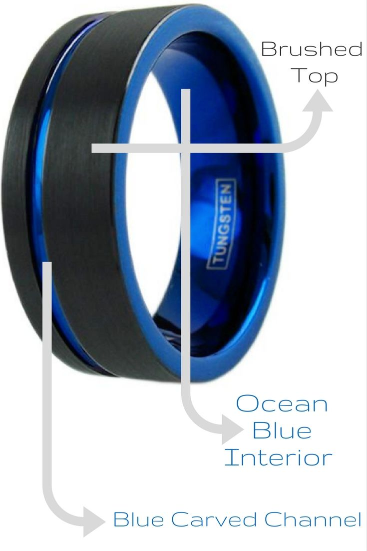 Mens black and blue tungsten wedding band with brushed tungsten top and deep ocean blue interior. I love this mens wedding band. Its makes the perfect modern mens wedding band. Is has been designed with a pipe cut design.