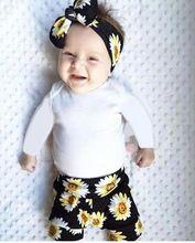 2017 do bebê roupas de menina Flor manga comprida Bodysuit + calça + Headband do 3 pcs Pequena margarida terno do bebê recém-nascido menina conjunto de roupas