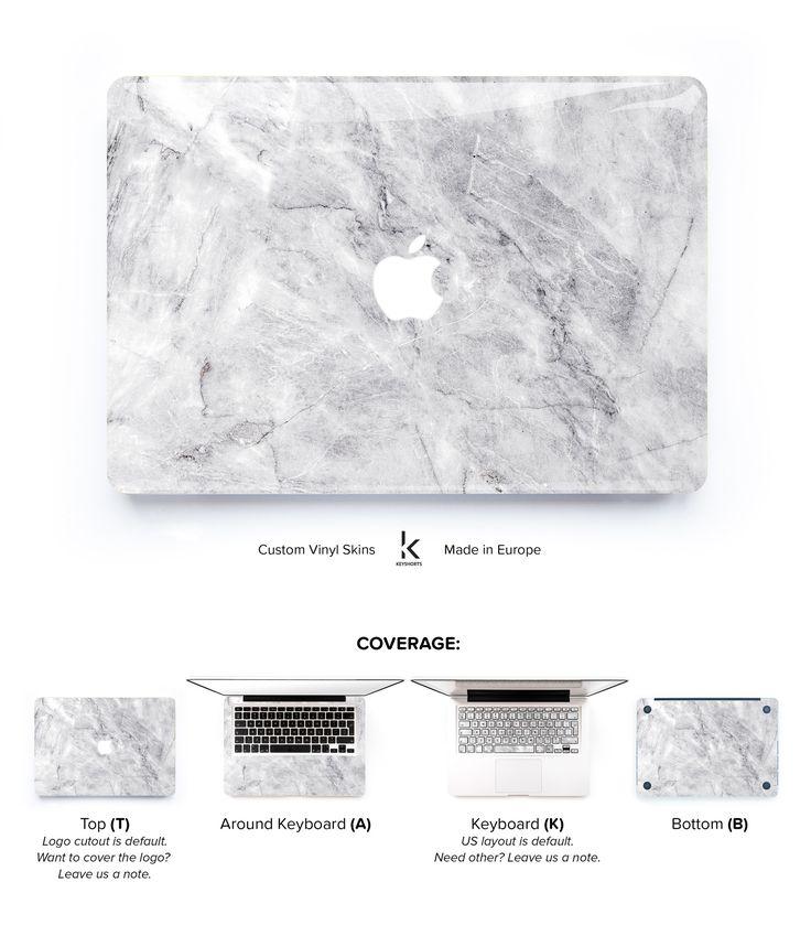 White Brushed Marble MacBook Skin at Keyshorts.com