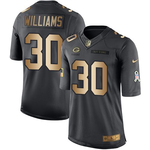 Nike Packers #30 Jamaal Williams Black Men's Stitched NFL Limited Gold Salute To Service Jersey
