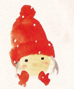 Red Winter Hat and Mittens (face only) FROM: Artwork - Chihiro Iwasaki | Chihiro Art Museum