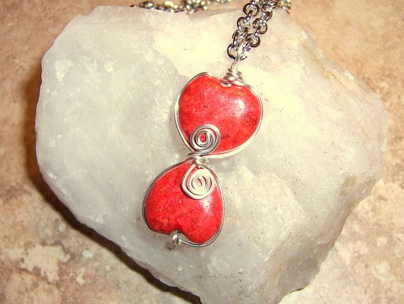 Two Hearts Beat As One Red Valentines Coral Heart by BeanzBeads