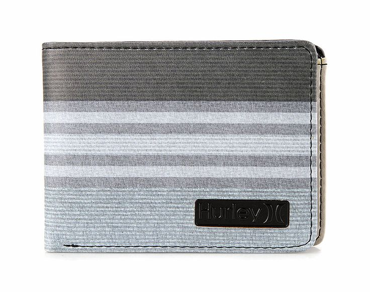 In Season Pu Wallet by Hurley. Made from synthetic leather, a gradation line colors from dark grey, grey, light grey, black patch with embossed hurley logo. Bi fold, one main compartment, 8 card slots, and black color inside.  http://www.zocko.com/z/JE9li