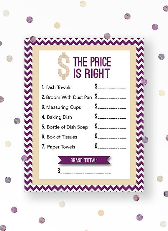 The price is right bridal shower game in Modern Chevron shower theme