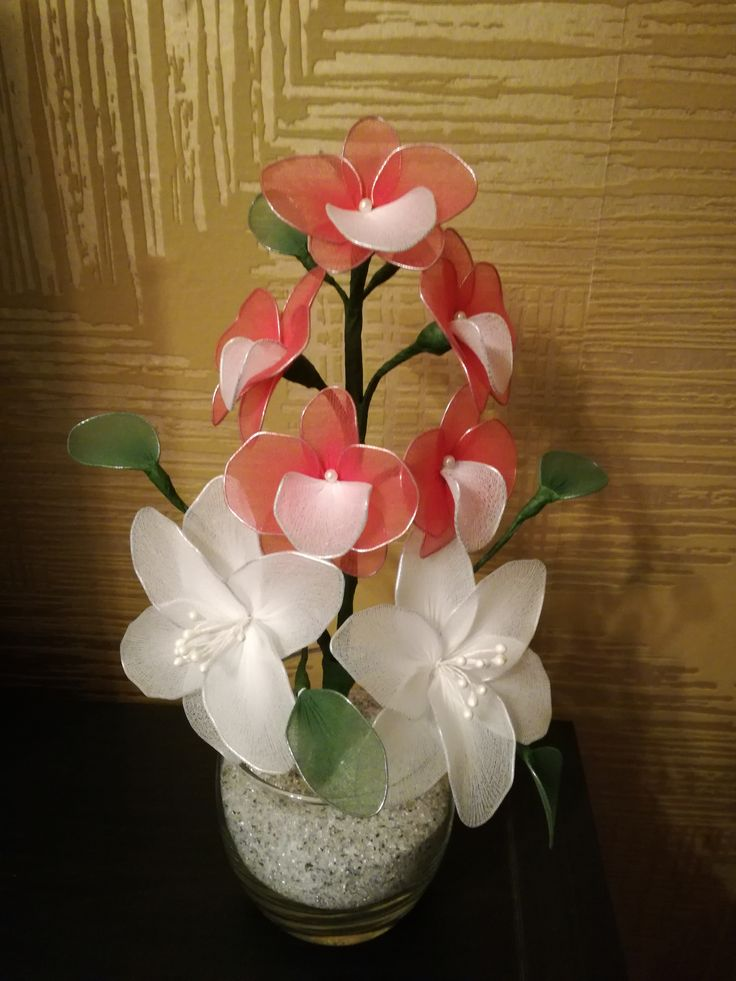Orchids and lilies - red and white