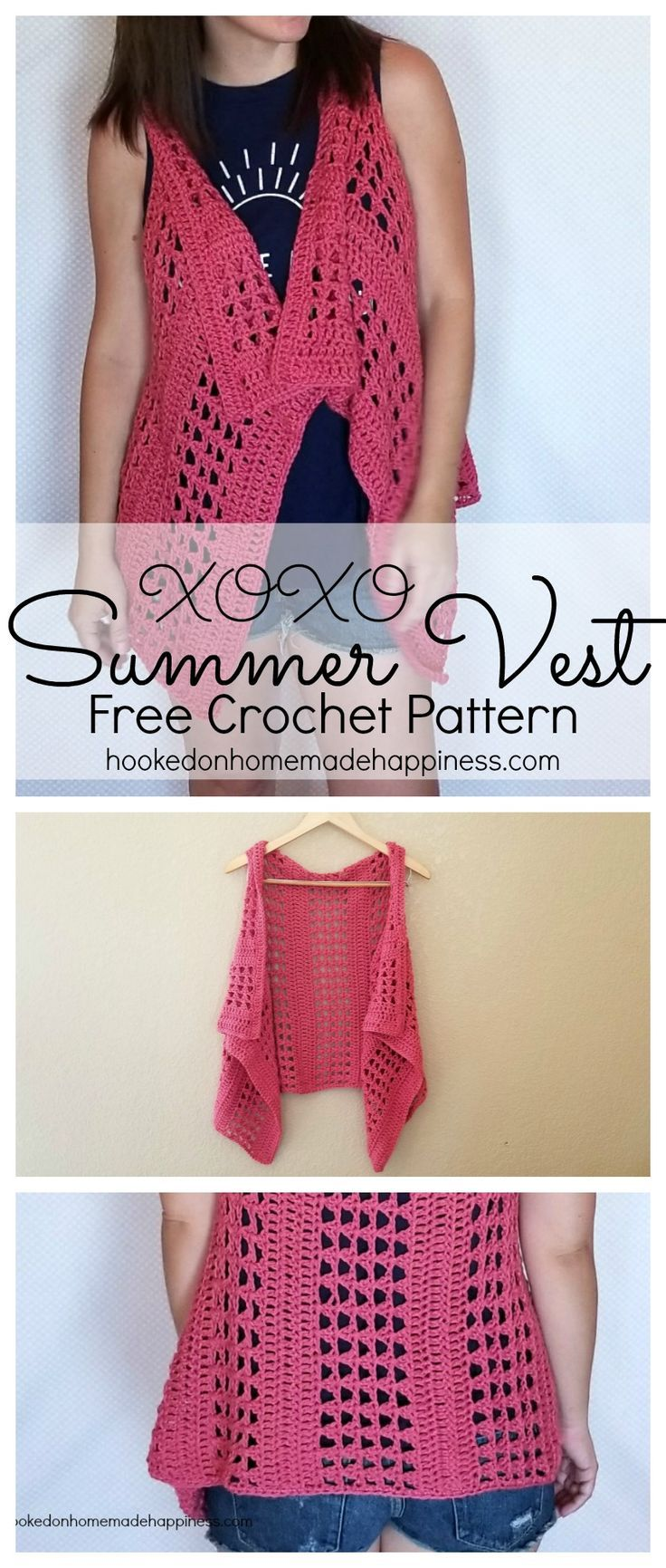 """Add this vest to your summer wardrobe for a fun accessory! The cotton yarn makes it light and a great project for warmer months. I used the """"X' stitch. It has an open, airy design, and creates a nice textured piece. The vest is just one big rectangle with armholes. It's fitted along the back, but is pretty and flowy in the front. I wanted to keep everything easy-peasy and because there isn't any decreasing along the neckline, it hangs a little bit. But by folding over the neckline like a…"""