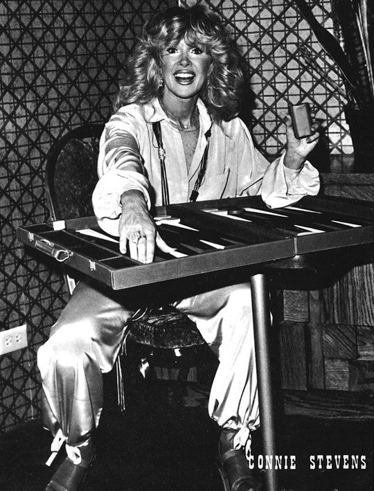 Connie  Stevens, an avid backgammon player, on the cover of the June 1979 Las Vegas Backgammon Magazine.                    Play backgammon > on.fb.me/1869cF3