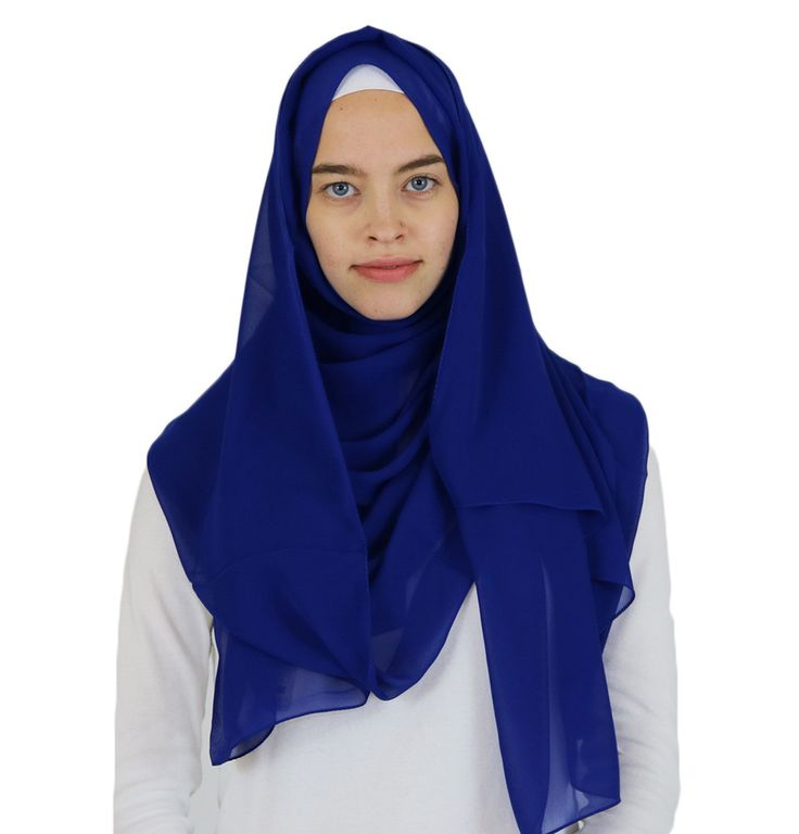 Sedef Solid Chiffon Shawl Royal Blue