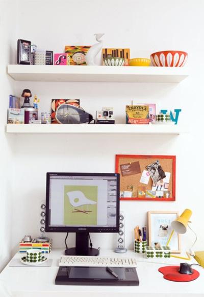 .: Studios Home, Floating Shelves, Studios Spaces, Small Offices Spaces, Work Spaces, Work Desks, Home Studios, Desks Spaces, Home Offices