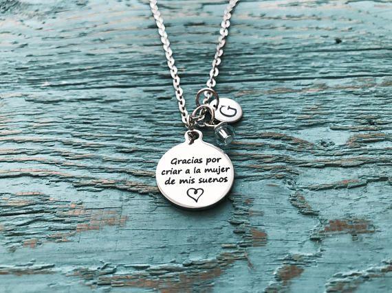 6b4e0862ab910 Spanish, Gracias por criar a la mujer de mis suenos, Silver Necklace ...