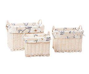 Set de 3 cestas de mimbre Flor - beige
