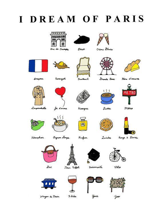 Ik droom van Parijs French ABC's8 x 10 illustratie door CocoDraws