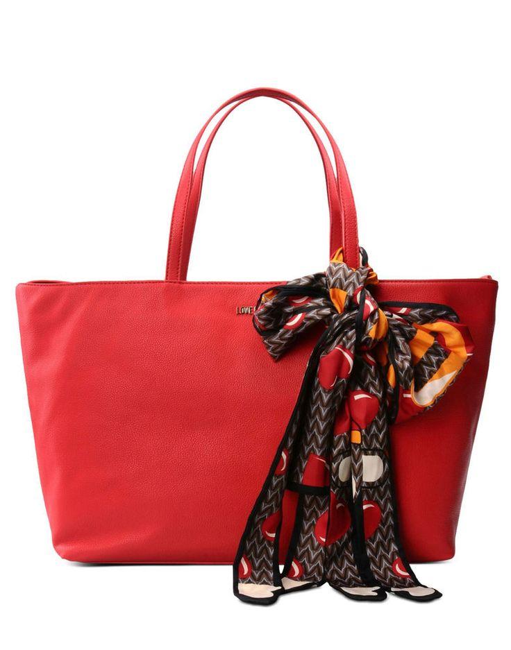 Love Moschino Borsa similpelle doppio manico Shopper Rossa con foulard Jc4274