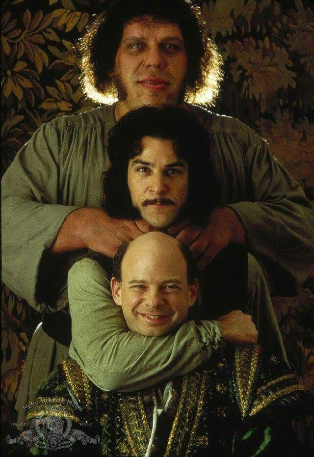 The Princess Bride (1987).  Andre The Giant, Mandy Patinkin and Wallace Shawn.