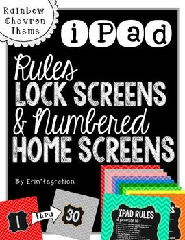 "~ Rainbow Chevron and Chalk Theme iPad Rules Lockscreen & Numbered Background Images for Student iPads! ~ Hold students accountable for iPad rules every time they ""swipe right to unlock"" with beautiful photo background with rules printed on the front."