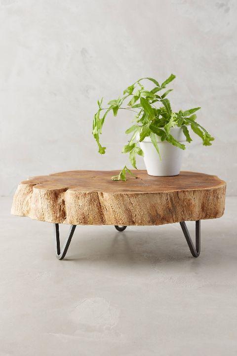 Wood slab live edge tray with miniature hairpin legs - LOVE this!