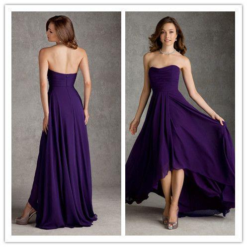 Dark Purple Strapless Short Front Long Back Bridesmaid Dresses 2015 A Line Long Chiffon Gown Dama De Honor