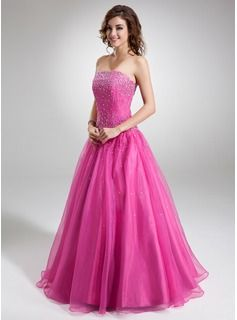 A-Line/Princess Strapless Floor-Length Organza  Satin Quinceanera Dresses With Beading (021004659)