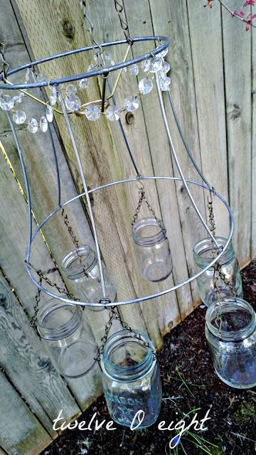 How to make a chandelier from mason jars and an old lamp shade.