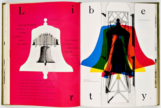 This is work from Bradbury Thompson. The use of color versus white gives it an edgy contrast, while the right page creates a lo of movement. The design is dynamic yet works so well because the designer used negative space so effectively.