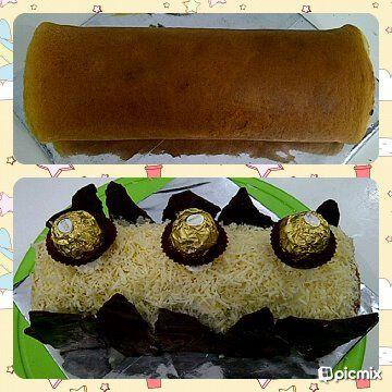 roll cake with rocher choc