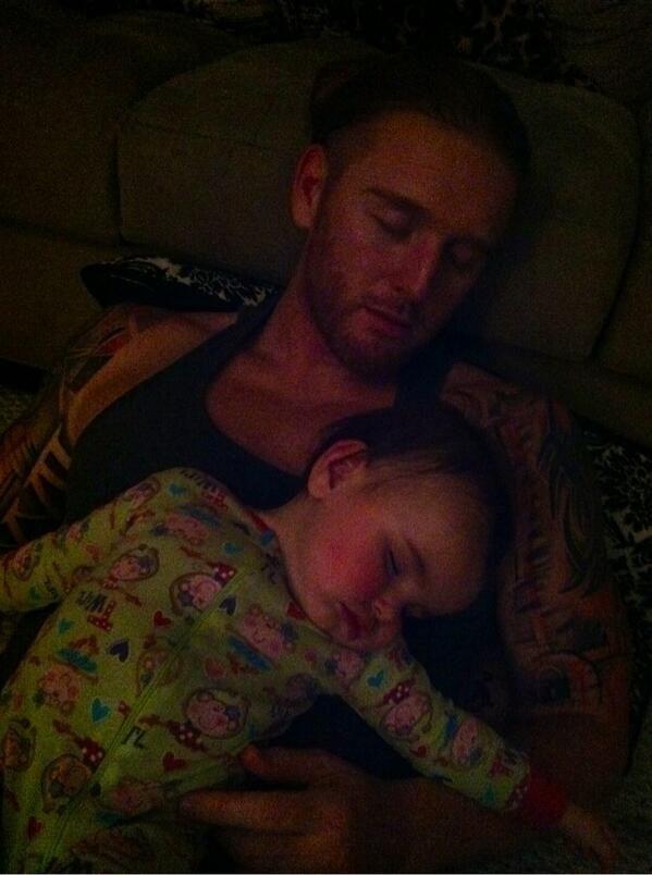 WWE Superstar Heath Slater (Heath Miller) and his daughter Rozalyn taking a nap together #WWE #wwefamilies #wwekids