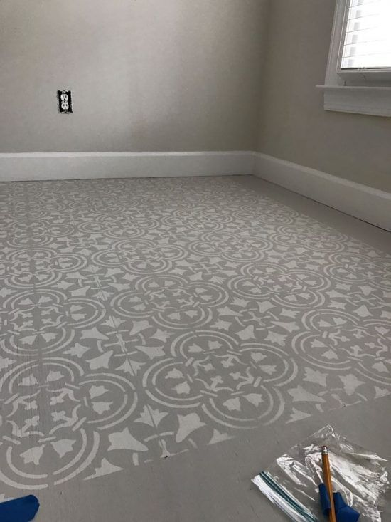 Stencil A Subfloor With A Tile Pattern Stenciled Floor