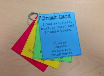These cards give your students options for what type of break they want to take. When you download this product, YOU WILL BE ABLE TO EDIT EVERYTHING on the card to suit your needs and your students' needs. I recommend printing on color paper, laminating, and putting on a ring for