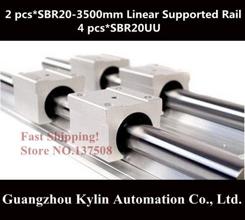150.00$  Buy now - http://ali3ho.worldwells.pw/go.php?t=1773489074 - Best Price! 2 pcs SBR20 3500mm linear bearing supported rails+4 pcs SBR20UU bearing blocks,sbr20 length 3500mm for CNC parts