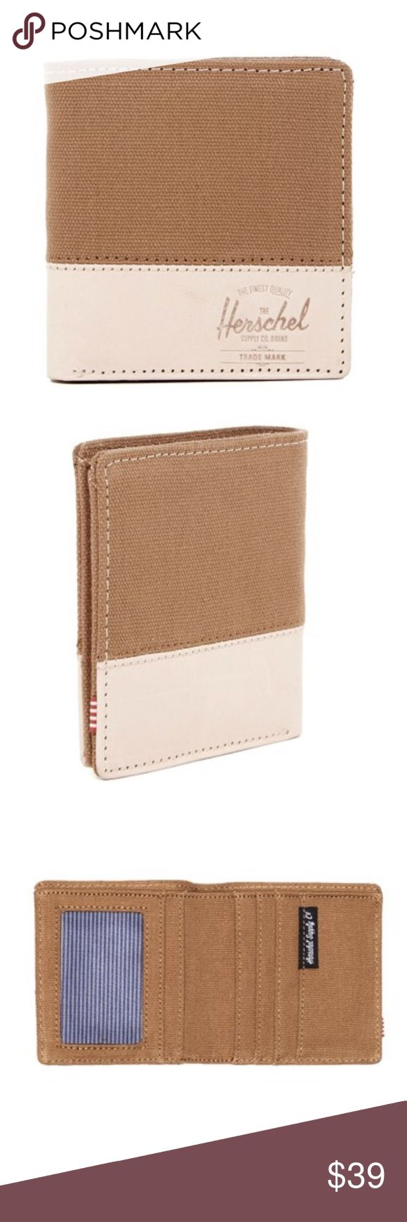 """Herschel Supply Co. Kenny Canvas Leather Wallet Details - Bi-fold - Leather and canvas construction - Interior features 5 card slots, 1 bill slot, and 1 ID window - Approx. 4"""" H x 4"""" W x 0.5"""" D - Imported Materials Leather and textile exterior, textile lining Herschel Supply Company Bags Wallets"""