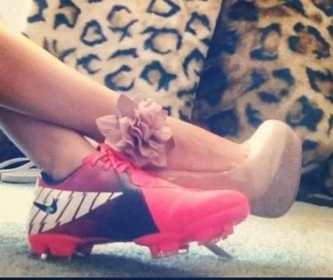 i think this is so cute for any sport...prom day, homecoming, wedding, etc  But on a different note, her cleats are probably the prettiest I've ever seen.