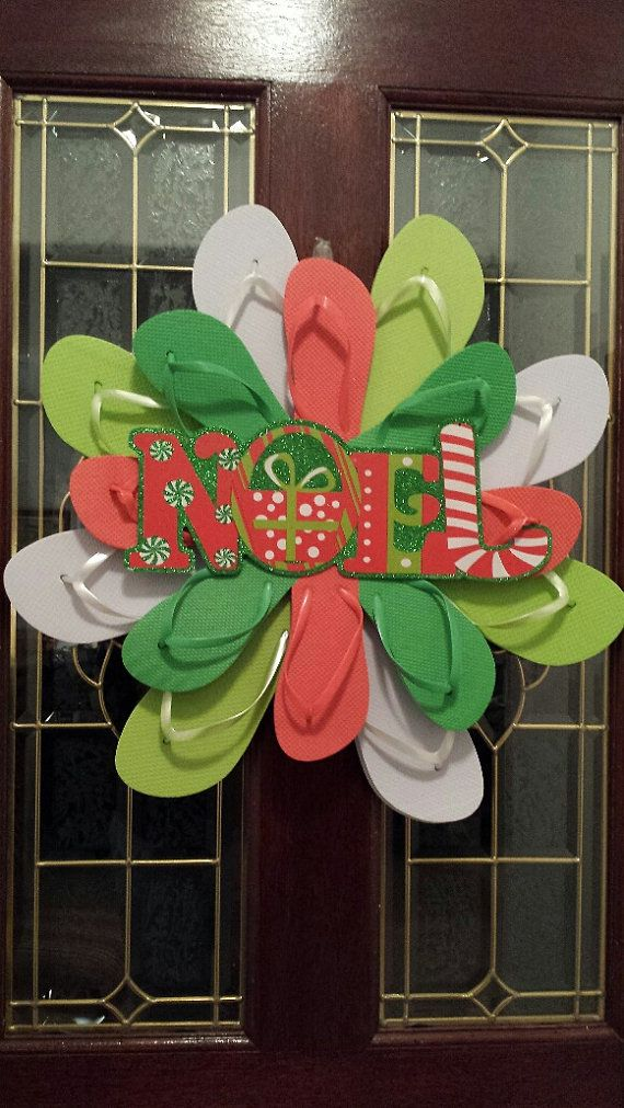 Beautiful Handmade Flip Flop Wreath Christmas by TheFlipFlopDaisy