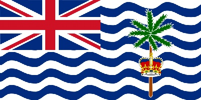 National flag of British Indian Ocean Territory from http://www.flagsinformation.com/british_indian_ocean_territory-country-flag.html  White with six blue wavy horizontal stripes; the flag of the UK is in the upper hoist-side quadrant; the striped section bears a palm tree and yellow crown centered on the outer half of the flag.