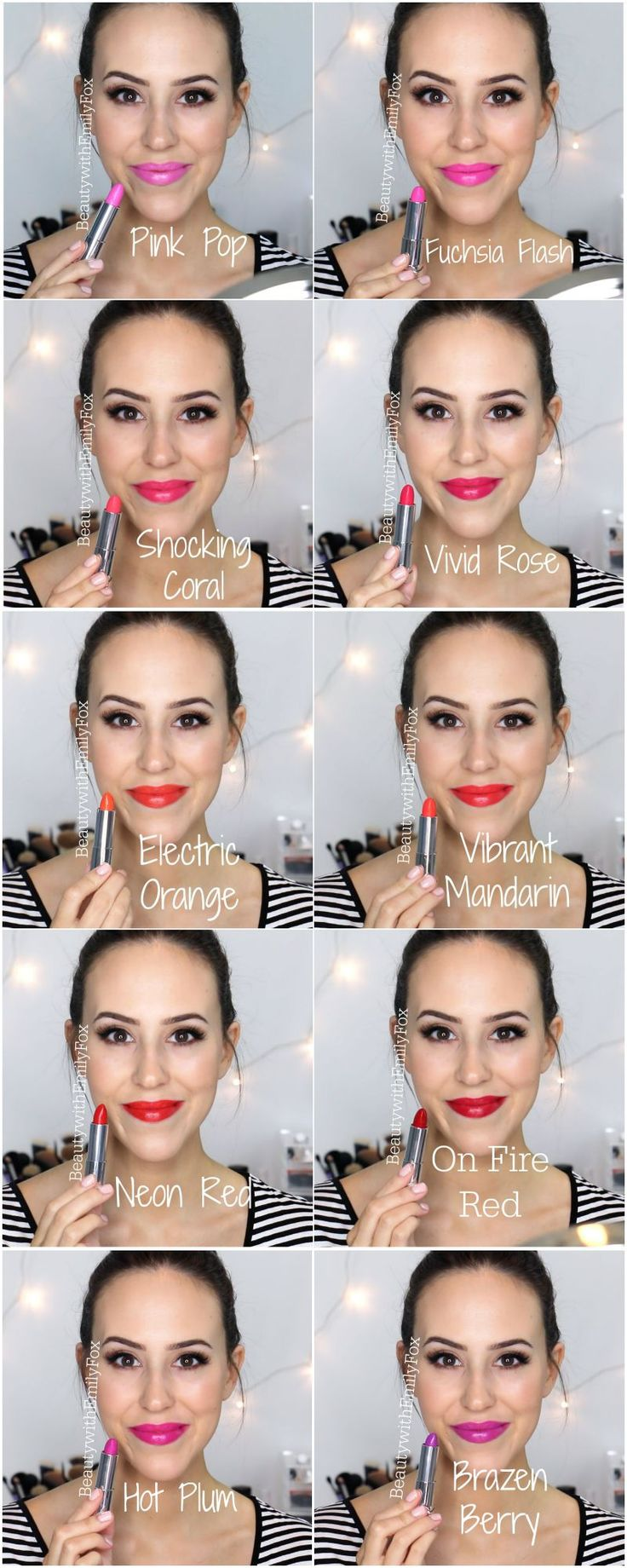 Maybelline Vivid Lipsticks Lip Swatches: Pink Pop, Fuchsia Flash, Shocking Coral, Vivid Rose, Electric Orange, Vibrant Mandarin, Neon Red, On Fire Red, Hot Plum and Brazen Berry