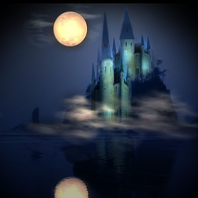 картинки фэнтези ночь луна замок хотим