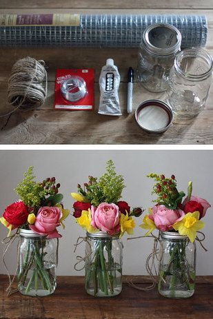 With a little bit of elbow grease, mason jars can be turned into vases and hung throughout the reception: | 24 DIY Decorations That Will Make Any Wedding Look Like A Million Bucks