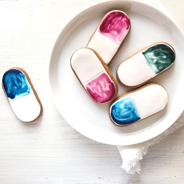 Watercolour biscuits   Edible watercolour pill cookies