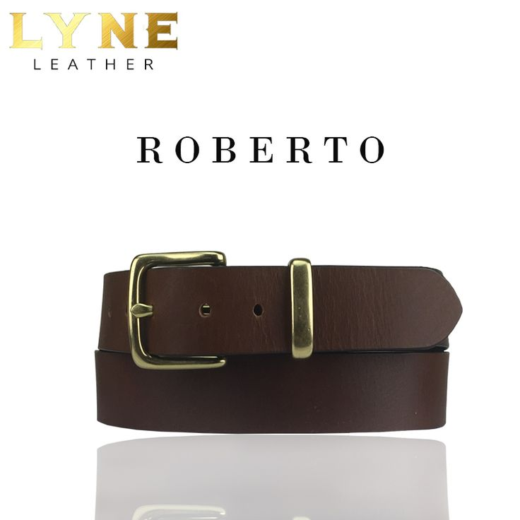 'ROBERTO' BROWN DRESS BELT.  Quality Australian Made Genuine Leather Cowhide Strong & Reliable Gloss Gold Buckle
