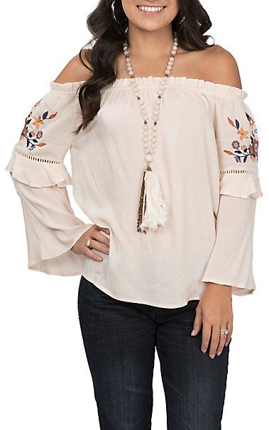 9a424b37330 Flying Tomato Women's Cream Embroidered Fashion Top | Cavender's ...