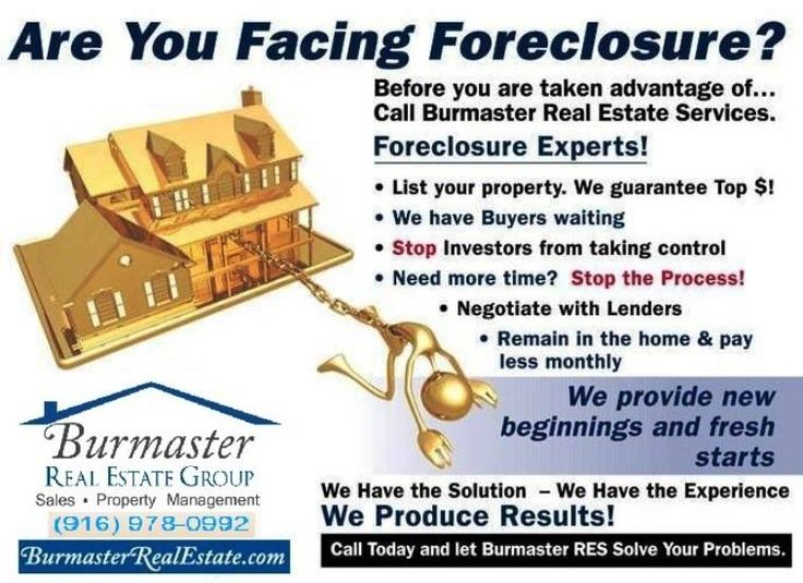Are You Facing Foreclosure? Before you are taken advantaged of...Call Burmaster Real Estate Services at 916-978-0992. #BurmasterRealEstate #RealEstate #Management #Sales #Construction #Owners #Landlords #Tenants #Renters #RentalListing #SalesListing #AgentServices #Sacramento #SacramentoCA #California #PropertyManagement #Apartment #RentalHome #PropertyManagers #SingleFamilyHomes #Duplexes #Triplexes #Fourplexes #Condos #CommercialProperties #BPO #REO #Foreclosure