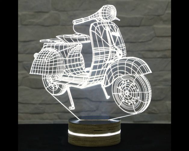 This Vespa Scooter Shaped 3d Led Lamp Has An Amazing Effect You Can Use It As Home And Office Decor Table Lamp Night Light Etc 3d Led Lamp Lamp Mood Lamps