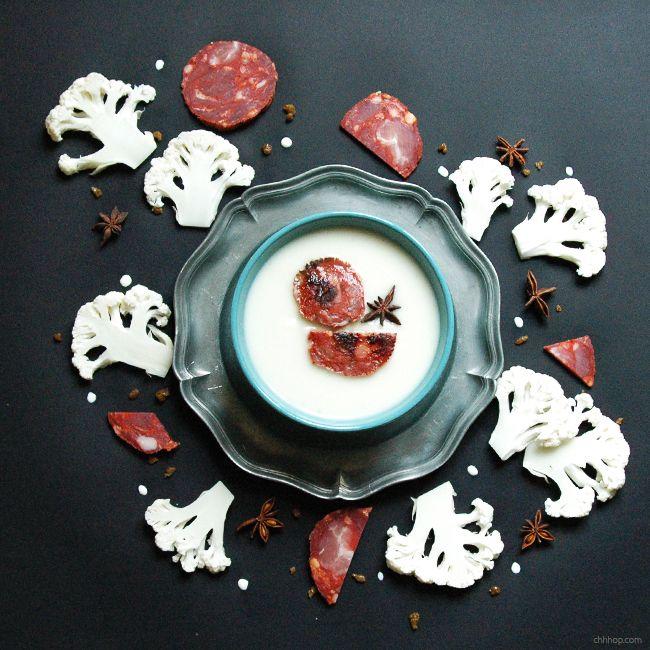 Crème de chou-fleur à la badiane et au chorizo