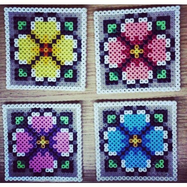 Flower coasters perler beads by feed.your.headx3