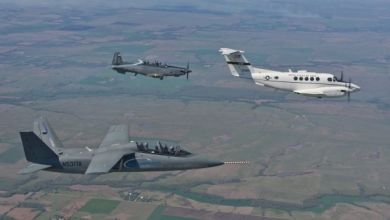 Textron Aviation Not Ruling Out T-X Bid - Textron AirLand's Scorpion surveillance and strike jet (foreground), seen flying here with the Beechcraft AT-6 and C-12, would need to be redesigned to meet the Air Force's anticipated T-X requirements. Textron Airland