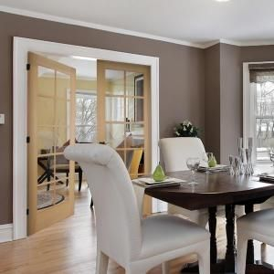 10lite clear wood pine prehung interior french door