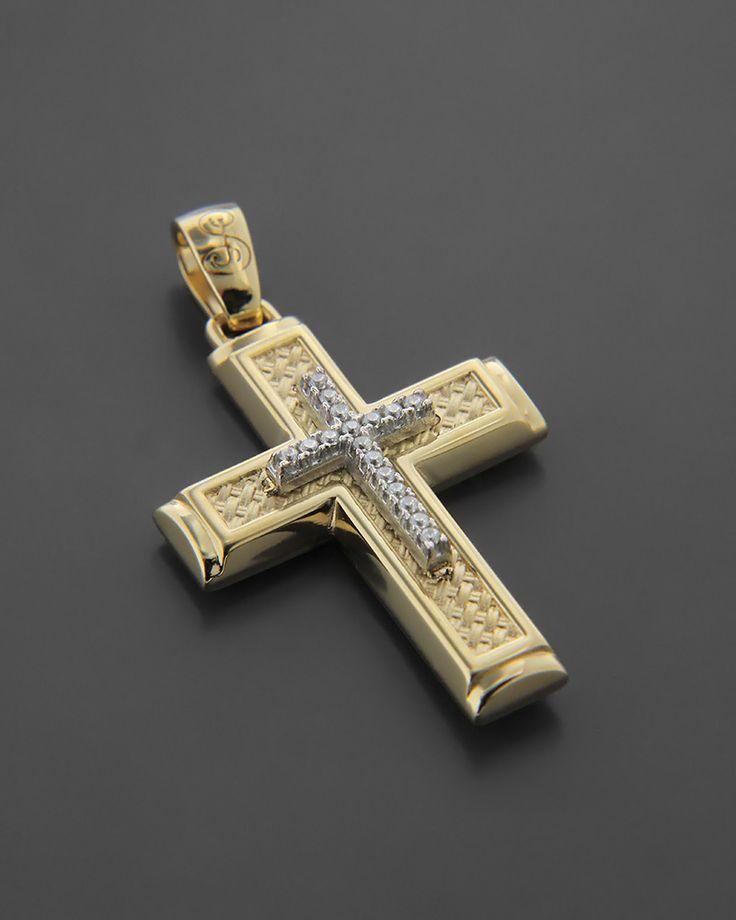 Σταυρός Βάπτισης δύο όψεων Χρυσός & Λευκόχρυσος Κ14 | eleftheriouonline.gr