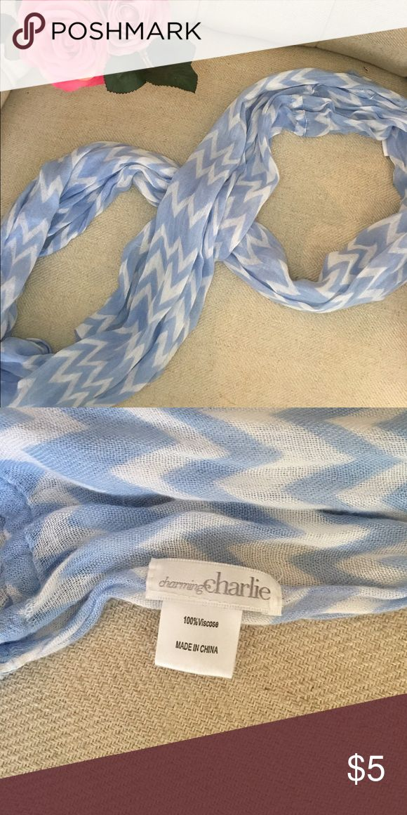 Charming Charlie infinity scarf Soft, lightweight blue and white scarf! Easy to wear and goes with just about everything!                               Offers are welcome!!☑️ No trading - Sorry❌ Charming Charlie Accessories Scarves & Wraps