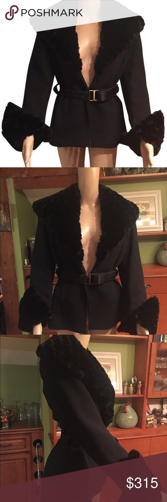 """Felipe Varela Stunning Black Jacket size 38 Brand New! Never worn! Absolutely stunning elegant jacket and extravagant design !! Big gorgeous oversized shawl collar made of high quality faux fur. Office, wedding, funerals !! :) Perfect fit for size 2-8. Paid $1200 Measurements Length 27"""" Sleeves 24"""" Waist 32"""" hem 38"""" Jackets & Coats Blazers"""