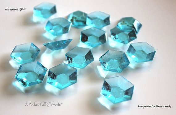 125 Turquoise Blue Edible Sugar Jewels December Birthstone Barley Sugar Hard Candy
