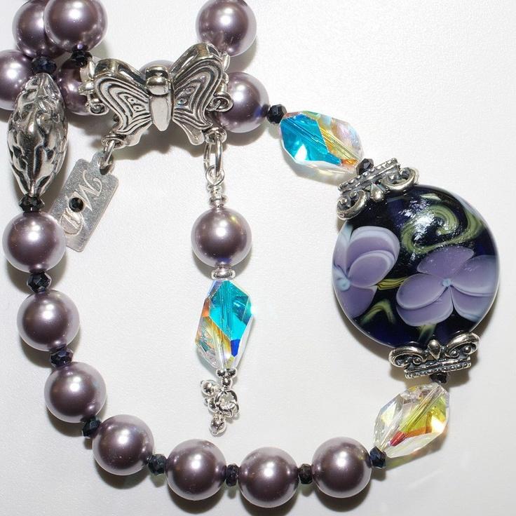 iolite pearl u0026 lampwork bead bracelet set